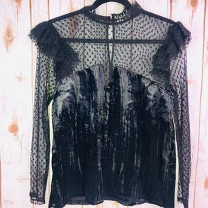 Melrose and Market Polka dot Lace/Velvet Black Top